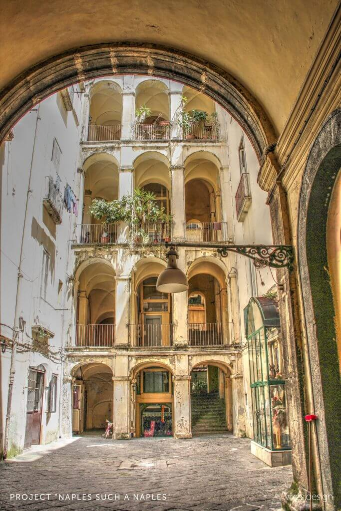 arch building, racy hotel in Naples, Italy